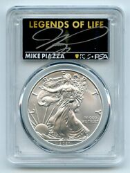 2021 1 Silver Eagle T1 Last Day Production Pcgs Ms70 Legends Life Mike Piazza