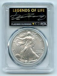 2021 1 Silver Eagle T2 First Production Pcgs Ms70 Legends Of Life Vlad Guerrero