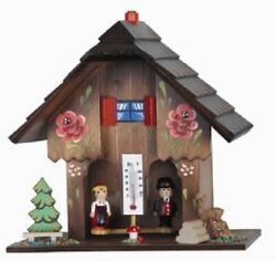 German Weather House With Wooden Couple Hand Painted Flowers And Thermometer