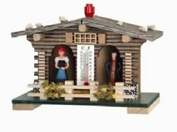 German Weather House With Fence Black Forest Couple And Thermometer Weatherhouse