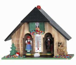 German Weather House With Black Forest Couple And Deer Thermometer Weatherhouse
