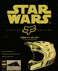 Fox Racing Star Wars C-3po Gold Le V3 Motorcycle Helmet Size L Only 160 Made New