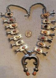 Vintage Squash Blossom Necklace Spiny Oyster Seashell Sterling Silver 202g Rare