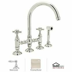 Rohl Country Kitchen Bridge Faucet With Side Spray And Metal Lever Handles