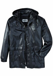 Kingsize Menand039s Big And Tall Hooded Leather Parka