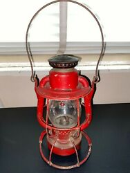 Dietz Vesta Nycs Railroad Lantern Made In Usa Red Ny Central Rr Vintage Lamp