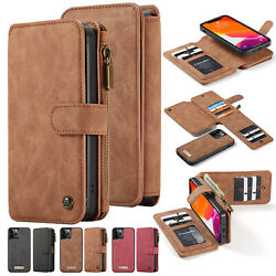 For iPhone 13 12 11 Pro Max XS XR 87 Removable Magnetic Flip Case Leather Wallet
