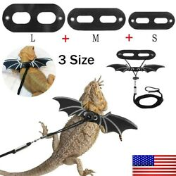 Adjustable Reptile Lizard Leash Bearded Dragon Harness S M L Cool Leather Wings