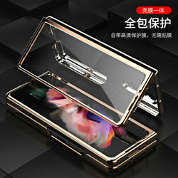 For Samsung Galaxy Z Fold 3 5G Full Cover Cross Leather W Glass Flip Case Cover $12.99