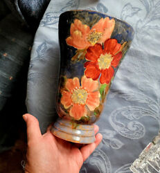Vintage Royal Doulton Wild Roses Vase 8.5 Colorful And Mint Top Example Old One