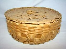 Vintage Primitive Penobscot New England Indian Twisty Curl Woven Sewing Basket