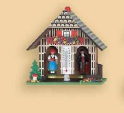 German Weather House With Black Forest Couple And Thermometer Weatherhouse