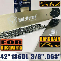 42 Inch 3/8 .063 136dl Guide Bar Saw Chain For Husqvarna 288 365 372 385 390