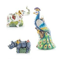 Jay Strongwater Floral Elephant Rhino With Butterflies Peacock Glass Ornaments