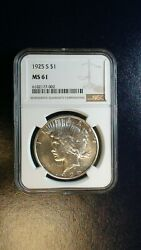 1925 S Peace Silver Dollar Ngc Ms61 Uncirculated 1 Coin Buy It Now