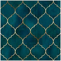 96034 Peel And Stick Wallpaper Graphic Trellis Sapphire Blue/gold Removable
