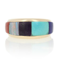 Yellow Gold Lapis, Turquoise, Sugilite, Opal And Coral Ring 14k Southwestern 6 1/2