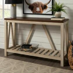 Console Table 52 In. Durable High-grade Mdf Wood Frame Farmhouse Style White Oak