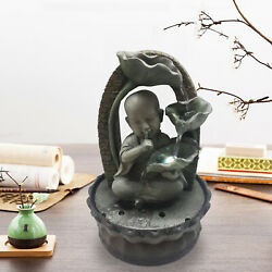 Garden Ornaments Fountain Buddha Zen Indoor Table Top Water Feature W/led Lights