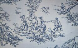 Blue Dark Blue French Victorian Toile Upholstery Draping Fabric By Yard