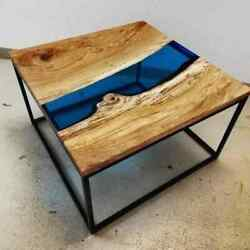 River Resin Table / Resin Table Top In Natural Wood / Indian Wood Furniture Arts
