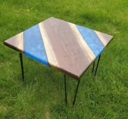 Blue Resin River Coffee Side Top Table Wood / Indian Wood Furniture Living Decor