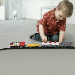 Electric Kid Toy Train Set Battery-operated W/steam Locomotive Engine And Tracks