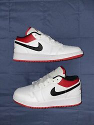 Big Kids Air Jordan 1 Low White/gymred 553560 118 Brand New With Box Size 5