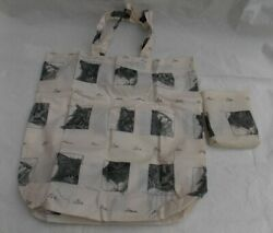 Ivory foldable bag with black cat line drawings by Bob Bowdige amp; Bay Tree Studio