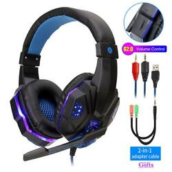 Professional Led Light Wired Gamer Headphones With Microphone For Ps4 Ps5 Xbox O