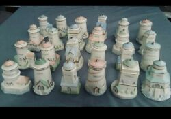 Lenox Collectible Seaside Lighthouse Spice Jar Set Of 24 In Box