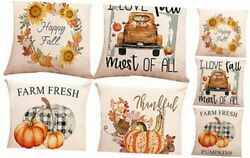 Autumn Pillow Covers 16 x 16 Inch Set of 4 Cotton Linen Fall 16x16 inch