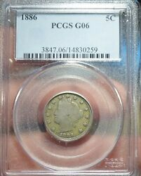 1886-p Pcgs G06 Liberty V Nickel 5c Us Coin Item Free Shipping