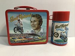 Vintage Evel Knievel Metal Lunchbox And Matching Thermos 1974 Lunch Box