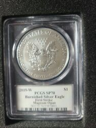 2019w Pcgs Sp70 Proof Burnished Silver Eagle Legacy Collection Magnum Opus Label