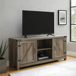 Modern Farmhouse High Grade Barn Door Tv Stand For Tvs Up To 65 Grey Wash New