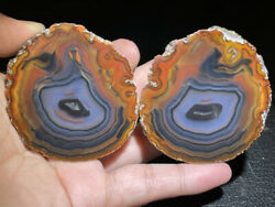 Color Agate Achat Nodule Chinese Fighting Blood Agate Xuanhua 249g Pair Top A42