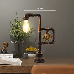 Antique Industrial Table Light Led Desk Lamp W/ Clock Style Water Pipe Desk Lamp