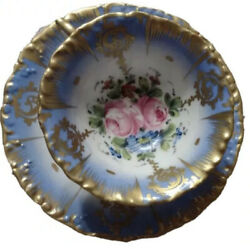 18th Century Sevrés, France Hand Painted Blue Gold Encrusted Cup And Saucer Rare