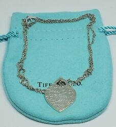 And Co Silver Heart Fifth Ave Avenue Charm Pendant Necklace 24 Authentic