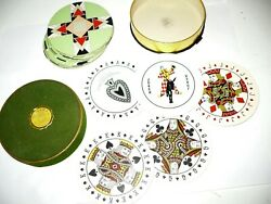Art Deco Round Geometric Playing Cards General Card Company One Deck Box Vintage
