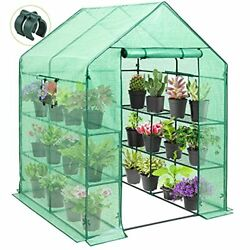 Mini Walk-in Greenhouse 2 Tiers 8 Shelves With Roll-up Zipper Door And 2 Side..