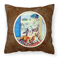 Caroline#x27;s Treasures 7068Pw1414 Lady With Her Boxer Fabric Decorative Pillow