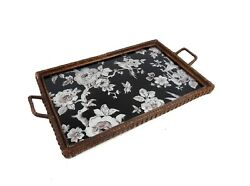 Very Rare Antique Art Nouveau Glass Cocktail Tray With Flowers And Bird About 1910