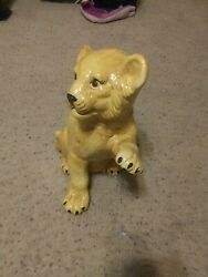 Ceramic Lion Cub Statue Vintage Life Size 16 Inch Tall