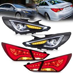 Led Headlights+red Taillights For Sonata 11-13 Gl 11-14 Gls Limited Se