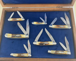 Case Xx Complete 7 Knife Red Letter Stag Set 1978 Unused Original Box Near Mint