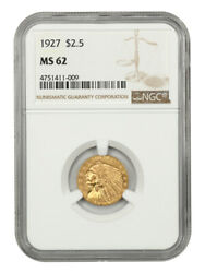 1927 2 1/2 Ngc Ms62 - 2.50 Indian Gold Coin