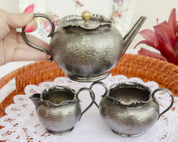 English Silver Plated Service Kettle Milk Jug And Sugar Bowl Vintage From 70s