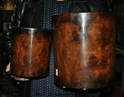 Antique Chinese Huanghuali Wood Dynasty Palace Ghost Eyes Pencil Vase Brush Pot